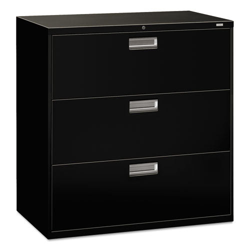 600 Series Three-Drawer Lateral File, 42w x 18d x 39.13h, Black