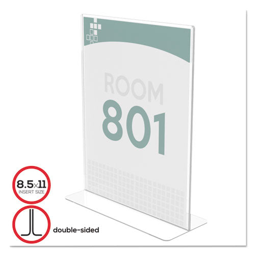Superior Image Double Sided Sign Holder, 8 1/2 x 11 Insert, Clear