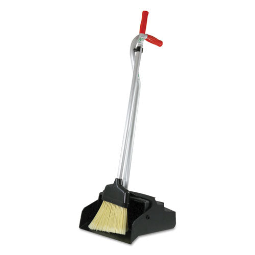 Ergo Dustpan With Broom, 12 Wide, Metal w/Vinyl Coated Handle, Red/Silver