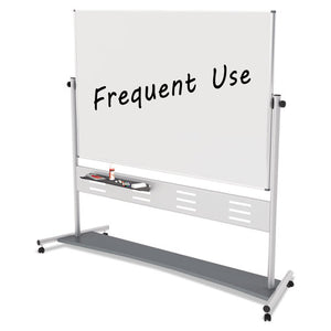 "Magnetic Reversible Mobile Easel, 70 4/5w x 47 1/5h, 80""h, White/Silver"