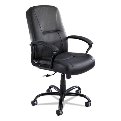 Serenity Big and Tall High Back Leather Chair, Supports up to 500 lbs., Black Seat/Black Back, Black Base