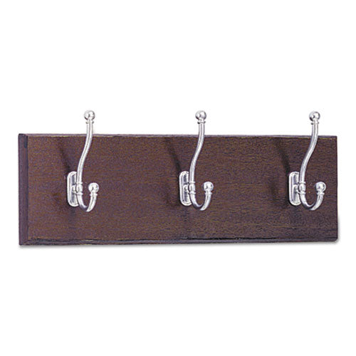Wood Wall Rack, Three Double-Hooks, 18w x 3.25d x 6.75h, Mahogany