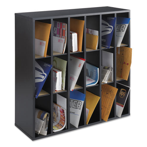 Wood Mail Sorter with Adjustable Dividers, Stackable, 18 Compartments, Black