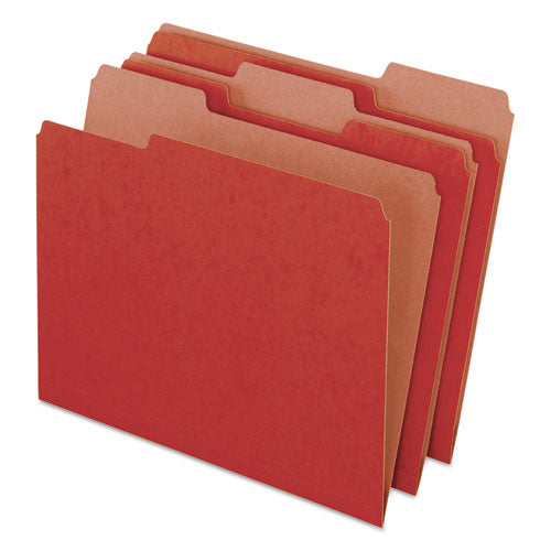 Earthwise by 100% Recycled Colored File Folders, 1/3-Cut Tabs, Letter Size, Red, 100/Box