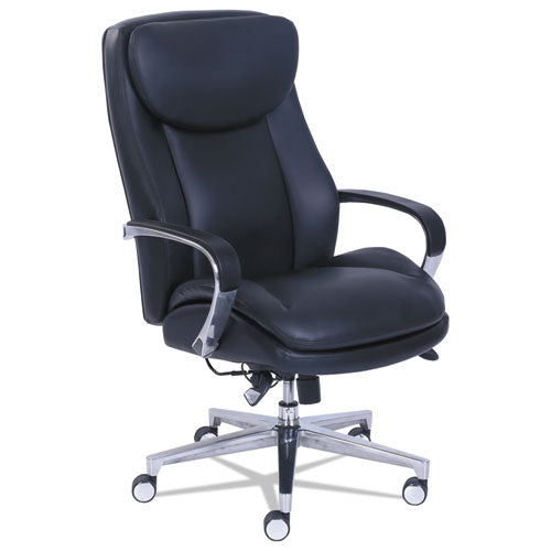 Commercial 2000 High-Back Executive Chair with Dynamic Lumbar Support, Supports up to 300 lbs., Black Seat/Back, Silver Base