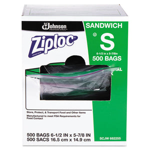 "Resealable Sandwich Bags, 1.2 mil, 6.5"" x 6"", Clear, 500/Box"