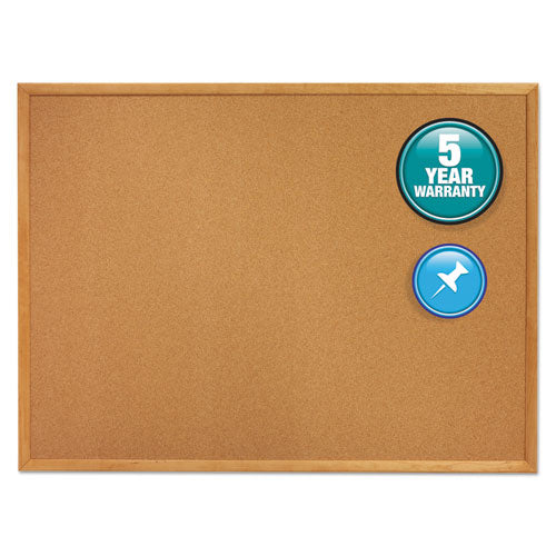 Classic Series Cork Bulletin Board, 60 x 36, Oak Finish Frame