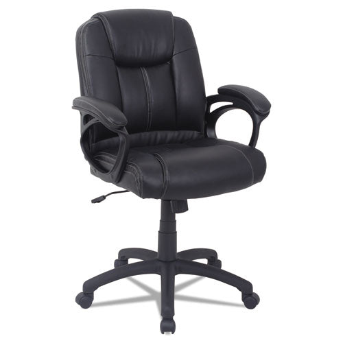 Alera CC Series Executive Mid-Back Leather Chair, Supports up to 275 lbs., Black Seat/Black Back, Black Base