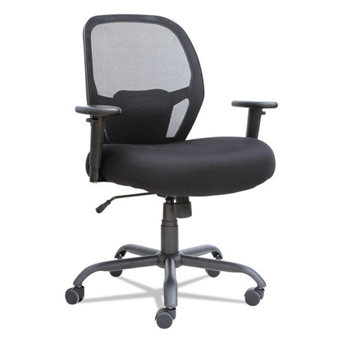 Alera Merix450 Series Mesh Big and Tall Chair, Supports up to 450 lbs., Black Seat/Black Back, Black Base