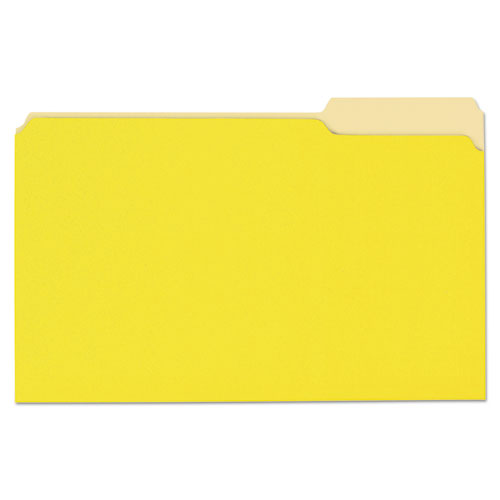 Deluxe Colored Top Tab File Folders, 1/3-Cut Tabs, Legal Size, Yellowith Light Yellow, 100/Box