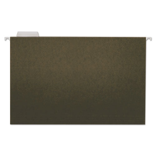 Hanging File Folders, Legal Size, 1/5-Cut Tab, Standard Green, 25/Box