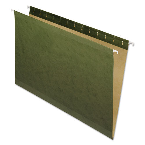 Reinforced Hanging File Folders, Legal Size, Straight Tab, Standard Green, 25/Box