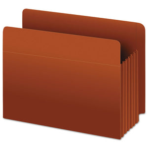 "Heavy-Duty End Tab File Pockets, 3.5"" Expansion, Legal Size, Red Fiber, 10/Box"