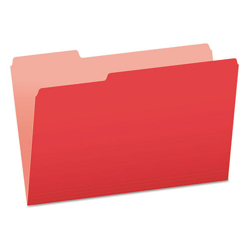 Colored File Folders, 1/3-Cut Tabs, Legal Size, Red/Light Red, 100/Box