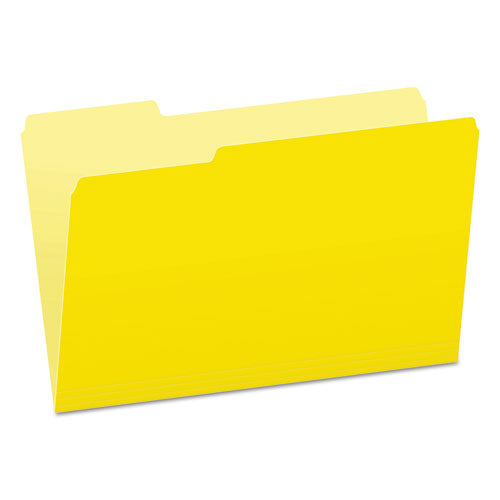 Colored File Folders, 1/3-Cut Tabs, Legal Size, Yellowith Light Yellow, 100/Box