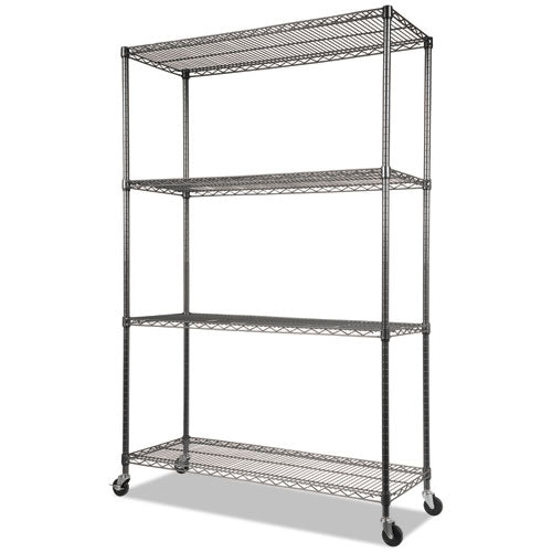 NSF Certified 4-Shelf Wire Kit w/Casters & Liner, 48 x 18 x 72, Black Anthracite