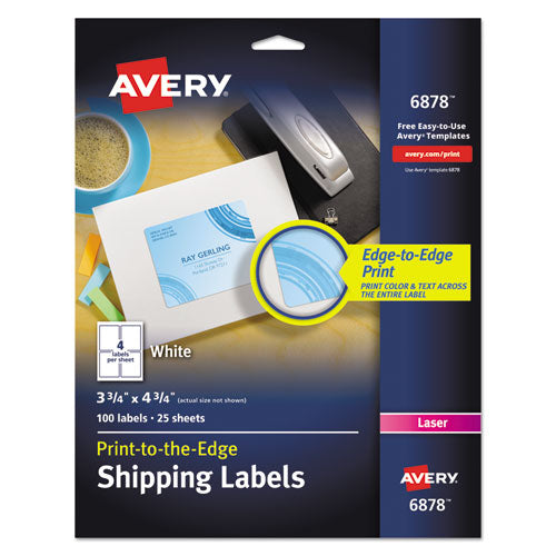 Vibrant Color Printing Mailing Labels, Copiers and Laser Printers, 3.75 x 4.75, White, 4/Sheet, 25 Sheets/Pack