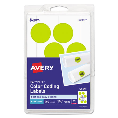 Printable Self-Adhesive Removable Color-Coding Labels, 1.25