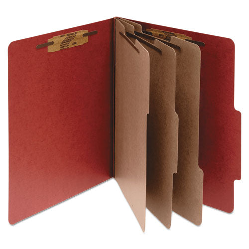 Pressboard Classification Folders, 3 Dividers, Legal Size, Earth Red, 10/Box