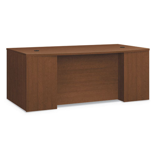 Foundation Breakfront Desk Shell Bow Front, 72w x 42d, Shaker Cherry