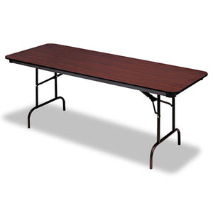 Premium Wood Laminate Folding Table, Rectangular, 72w x 30d x 29h, Mahogany