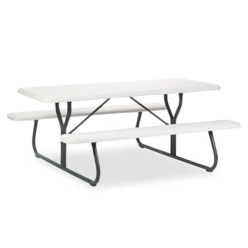 IndestrucTables Too 1200 Series Resin Picnic Table, 72w x 30d, Platinum/Gray