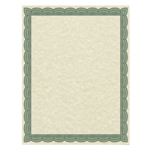 Parchment Certificates, Traditional, 8 1/2 x 11, Ivory w/ Green Border, 50/Pack