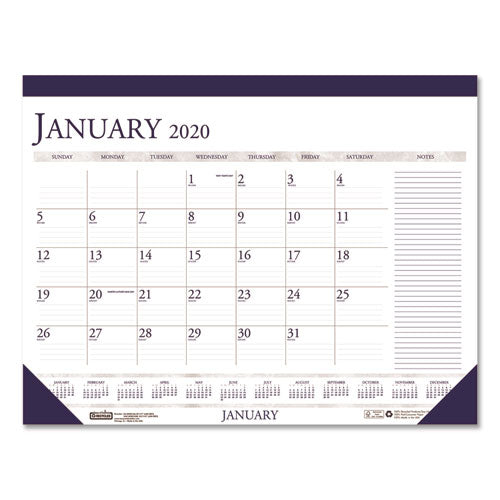 Recycled Two-Color Monthly Desk Pad Calendar w/Large Notes Section, 22x17, 2020