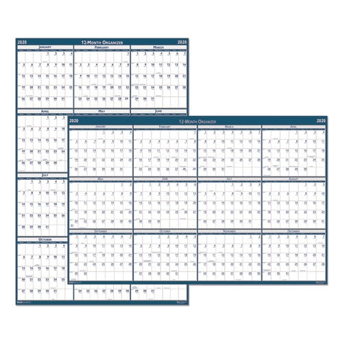 Recycled Laminated Write-On/Wipe-Off Jumbo Yearly Wall Calendar, 66 x 33, 2020