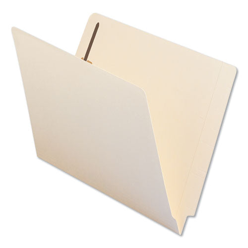 Reinforced End Tab File Folders with One Fastener, Straight Tab, Letter Size, Manila, 50/Box