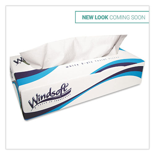 Facial Tissue, 2 Ply, White, Pop-Up Box, 100 Sheets/Box, 6 Boxes/Pack