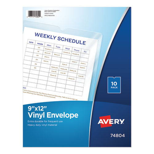 "Top-Load Clear Vinyl Envelopes w/Thumb Notch, 9"" x 12"", Clear, 10/Pack"