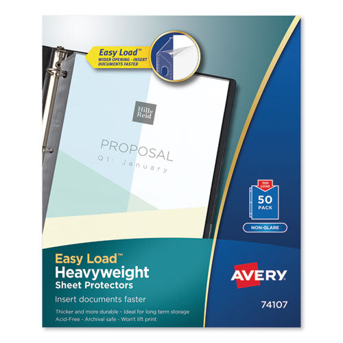 Top-Load Poly Sheet Protectors, Heavy Gauge, Letter, Nonglare, 50/Box