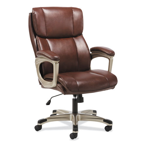 3-Sixteen High-Back Executive Chair, Supports up to 250 lbs., Brown Seat/Brown Back, Chrome Base
