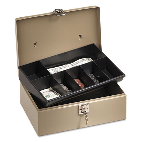 Lock'n Latch Steel Cash Box w/7 Compartments, Key Lock, Pebble Beige