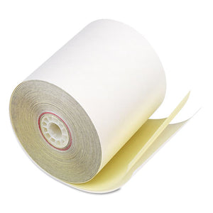 "Impact Printing Carbonless Paper Rolls, 3"" x 90 ft, White/Canary, 50/Carton"