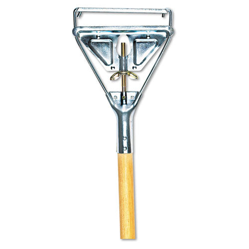 Quick Change Metal Head Mop Handle for No. 20 & Up Heads, 54in Wood Handle