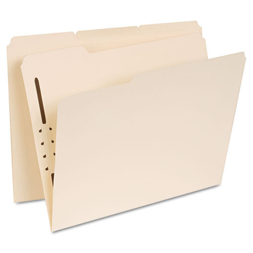 Reinforced Top Tab Folders with One Fastener, 1/3-Cut Tabs, Letter Size, Manila, 50/Box