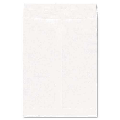 Deluxe Tyvek Envelopes, #10 1/2, Cheese Blade Flap, Self-Adhesive Closure, 9 x 12, White, 100/Box