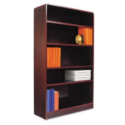 Alera® ALEBCR56036MY Radius Corner Wood Veneer Bookcase, Five-Shelf, 35-5/8 x 11-3/4 x 60, Mahogany