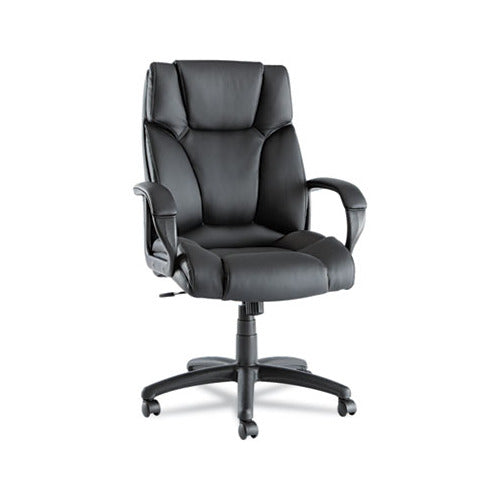 Alera Fraze Executive High-Back Swivel/Tilt Leather Chair, Supports up to 275 lbs., Black Seat/Black Back, Black Base