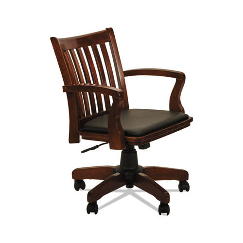Alera Postal Series Slat-Back Wood/Leather Chair, Cherry/Black