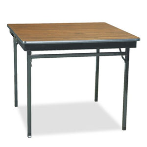 "Barricks CL36WA 36"" x 36"" Walnut / Black Folding Table"