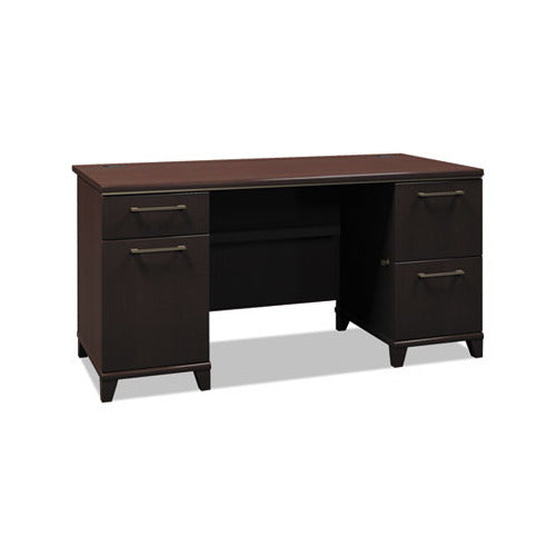 Bush Enterprise Collection 60W Double Pedestal Desk, 60w x 28.63d x 29.75h, Mocha Cherry Box 1 of 2
