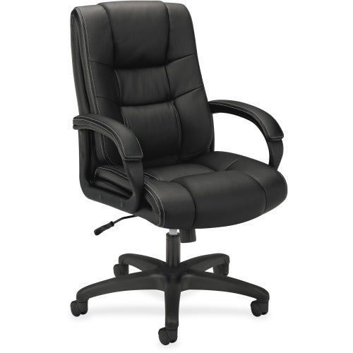 HON High-Back Executive Chair, Black Vinyl Seat - Black Frame