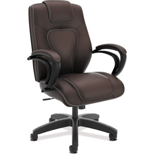 HON High-Back Executive Chair, Brown Vinyl Seat - Brown Back