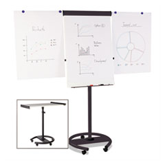 MasterVision™ 360 Multi-Use Mobile Magnetic Dry Erase Easel, 27 x 41, Black Frame