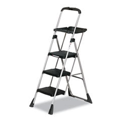 Cosco Products Max Work Steel Platform Ladder, 22w x 31d x 55h, 3-Step, Black