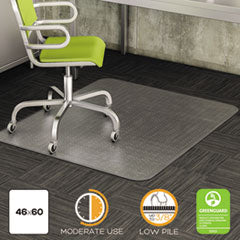 deflect-o® DuraMat Moderate Use Chair Mat for Low Pile Carpet, Beveled, 46 x 60, Clear