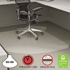 deflect-o® SuperMat Frequent Use Chair Mat, Medium Pile Carpet, Straight,60x66 w/Lip, Clear